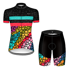 cheap Cycling & Motorcycling-21Grams Women's Short Sleeve Cycling Jersey with Shorts Summer Nylon Polyester Black / Red Rainbow Polka Dot Gradient Bike Clothing Suit Ultraviolet Resistant Quick Dry Breathable Reflective Strips