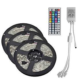 abordables Guirlandes & Bandes Lumineuses-15m (3 * 5m) 3528 RVB 900 leds 8mm bande lumière flexible led bande bande lumières imperméable à l'eau ac 12v 600leds avec kit de contrôleur à distance 44key ir