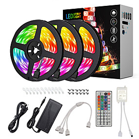 cheap Light Strips & Strings-ZDM® 15m Light Sets LED Light Strips RGB Tiktok Lights 450 LEDs 5050 SMD 10mm 1 12V 6A Adapter 1 44Keys Remote Controller 1 DC Cables 1 set Waterproof Cuttable Linkable 100-240 V IP65 Self