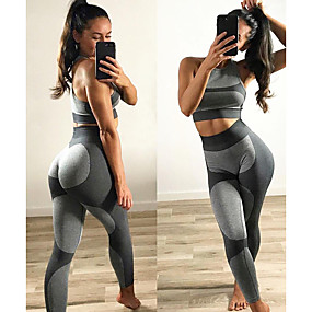 cheap Running & Jogging-Women's 2 Piece Activewear Set Workout Outfits Yoga Suit Athletic Athleisure Sleeveless High Waist Nylon Moisture Wicking Quick Dry Breathable Gym Workout Running Walking Jogging Sportswear Skinny