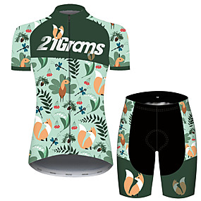 cheap Cycling & Motorcycling-21Grams Women's Short Sleeve Cycling Jersey with Shorts Summer Green Floral Botanical Fox Hawaii Bike Clothing Suit 3D Pad Ultraviolet Resistant Quick Dry Breathable Reflective Strips Sports Floral