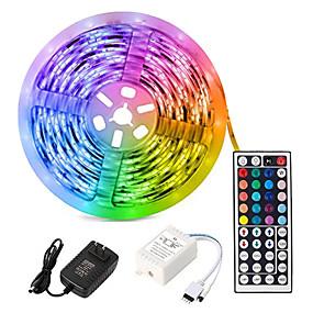 billige Kjøp belysning etter rom-5m fleksible ledlysstrimler / lyssett / rgb stripelys lysdioder 3528 smd 8mm rgb fjernkontroll / rc / kuttbar / dimbar 100-240 v / koblbar / selvklebende / fargeskiftende / ip44