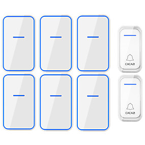 cheap Doorbell Systems-CACAZI Waterproof Wireless Doorbell 2 Button 6 Receiver 300M Remote Intelligent LED Light Home Door Bell Wireless Chime