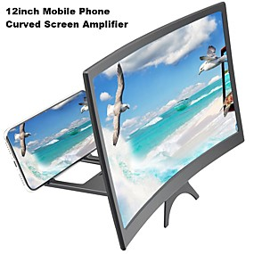 cheap Phone Mounts & Holders-12inch New Mobile Phone Curved Screen Amplifier HD 3D Video Mobile Phone Magnifying Glass Stand Bracket Phone Foldable Holder