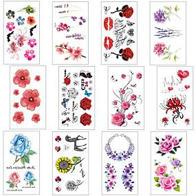 economico Tatuaggi e body art-12 pcs Tatuaggi temporanei Resistente all'acqua / Stile Mini / Sicurezza Viso / Corpo / braccia Adesivo per il trasferimento dell'acqua Colori per body painting