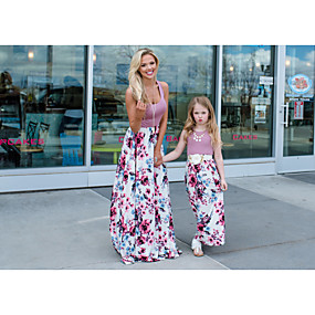 cheap Fashion Trends-Mommy and Me Basic Boho Floral Sleeveless Maxi Dress Purple