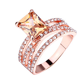 billige Graverte Ringer-personlig tilpasset Klar Kubisk Zirkonium Ring Klassisk Indgraveret Gave Love Festival Geometrisk Form 1pcs Rose Gull