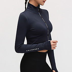cheap Yoga & Fitness-Women's Crop Top Winter Zipper Solid Color Black Purple Dark Blue Nylon Yoga Fitness Running Top Long Sleeve Sport Activewear Quick Dry Breathable Comfortable Stretchy