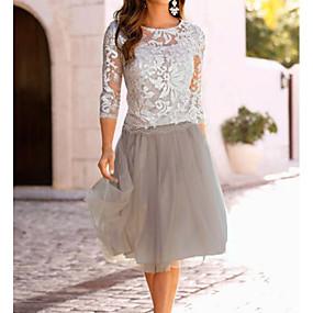 cheap Women's Dresses-Women's A Line Dress - 3/4 Length Sleeve Lace Mesh Spring & Summer Elegant Going out Beige M L XL XXL XXXL