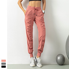 cheap Women-INFLACHI Women's Joggers Track Pants Athleisure Wear Bottoms Elastane Running Jogging Training Quick Dry Lightweight Breathable Sport Solid Colored Black Blushing Pink Gray / Micro-elastic