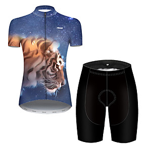 cheap Cycling & Motorcycling-21Grams Women's Short Sleeve Cycling Jersey with Shorts Summer Nylon Polyester Black / Blue Galaxy Tiger Animal Bike Clothing Suit Ultraviolet Resistant Quick Dry Breathable Reflective Strips Back