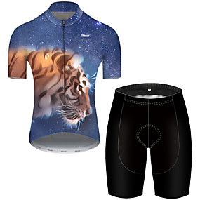 cheap Cycling & Motorcycling-21Grams Men's Short Sleeve Cycling Jersey with Shorts Summer Nylon Polyester Black / Blue Galaxy Tiger Animal Bike Clothing Suit Ultraviolet Resistant Quick Dry Breathable Reflective Strips Back