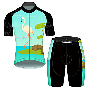 cheap Cycling & Motorcycling-21Grams Men's Short Sleeve Cycling Jersey with Shorts Summer Green / Black Flamingo Floral Botanical Animal Bike Clothing Suit UV Resistant 3D Pad Quick Dry Breathable Reflective Strips Sports