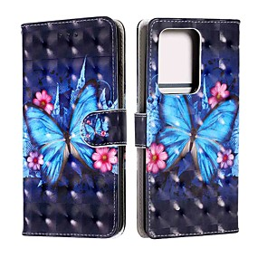 cheap Samsung Case-Case For Samsung Galaxy S20 / S20 Plus / S20 Ultra Wallet / Card Holder / with Stand Blue Butterfly PU Leather / TPU for Galaxy A51 / A71 / A41 / A21 / A11 / A01 / A50(2019) / A30S(2019)