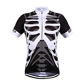 cheap Cycling & Motorcycling-SALETU Women's Men's Short Sleeve Cycling Jersey Summer Polyester Black+White Bike Jersey Top Quick Dry Breathable Reflective Strips Sports Clothing Apparel / Stretchy / Back Pocket / Sweat wicking