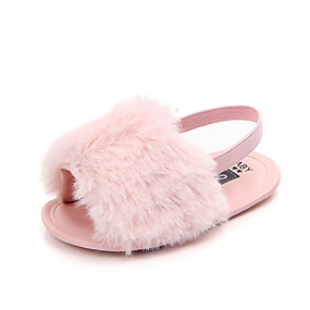 cheap Shoes & Bags-Girls' Comfort / First Walkers Faux Fur Sandals Novelty Shoes Infants(0-9m) / Toddler(9m-4ys) Black / Red / Fuchsia Summer / Fall