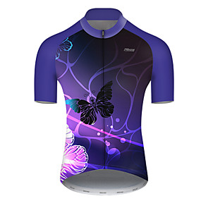 cheap Cycling & Motorcycling-21Grams Men's Short Sleeve Cycling Jersey Summer Nylon Polyester Violet Butterfly Gradient Bike Jersey Top Mountain Bike MTB Road Bike Cycling Ultraviolet Resistant Quick Dry Breathable Sports