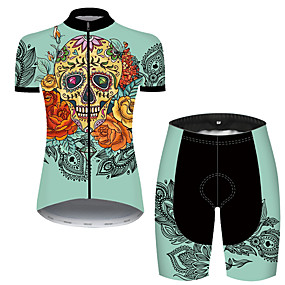 cheap Cycling & Motorcycling-21Grams Women's Short Sleeve Cycling Jersey with Shorts Summer Nylon Polyester Black / Yellow Sugar Skull Skull Floral Botanical Bike Clothing Suit 3D Pad Ultraviolet Resistant Quick Dry Breathable