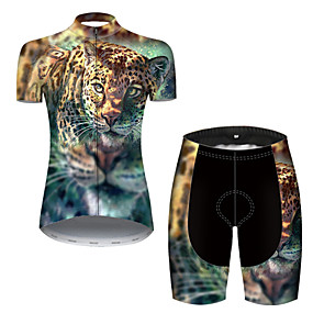 cheap Cycling & Motorcycling-21Grams Women's Short Sleeve Cycling Jersey with Shorts Summer Nylon Polyester Blue+Yellow Tiger Animal Bike Clothing Suit 3D Pad Ultraviolet Resistant Quick Dry Breathable Reflective Strips Sports