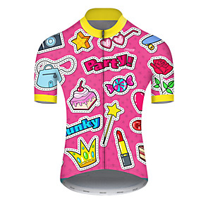 cheap Cycling & Motorcycling-21Grams Men's Short Sleeve Cycling Jersey Summer Nylon Polyester Pink Butterfly Heart Stars Bike Jersey Top Mountain Bike MTB Road Bike Cycling Ultraviolet Resistant Quick Dry Breathable Sports