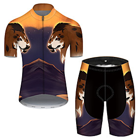 cheap Cycling & Motorcycling-21Grams Men's Short Sleeve Cycling Jersey with Shorts Summer Nylon Polyester Black / Yellow Galaxy Animal Bike Clothing Suit 3D Pad Ultraviolet Resistant Quick Dry Breathable Reflective Strips Sports