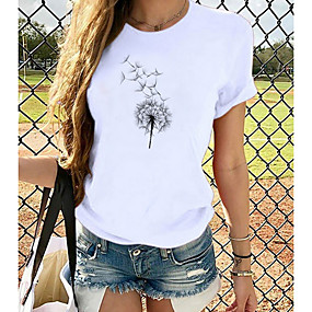 cheap Athleisure Wear-Women's T shirt Graphic Print Round Neck Basic Tops 100% Cotton Dog White Black
