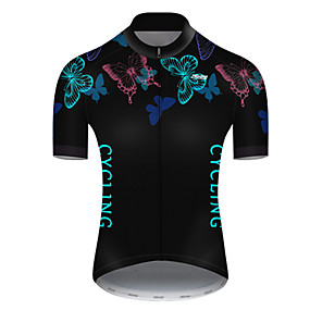 cheap Cycling & Motorcycling-21Grams Men's Short Sleeve Cycling Jersey Summer Nylon Polyester Bule / Black Butterfly Solid Color Bike Jersey Top Mountain Bike MTB Road Bike Cycling Ultraviolet Resistant Quick Dry Breathable