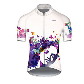 cheap Cycling & Motorcycling-21Grams Men's Short Sleeve Cycling Jersey Summer Nylon Polyester Blue+White Butterfly Gradient Bike Jersey Top Mountain Bike MTB Road Bike Cycling Ultraviolet Resistant Quick Dry Breathable Sports