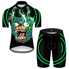 cheap Cycling & Motorcycling-21Grams Men's Short Sleeve Cycling Jersey with Shorts Summer Nylon Polyester Green / Black Lightning Sugar Skull 3D Bike Clothing Suit 3D Pad Ultraviolet Resistant Quick Dry Breathable Reflective