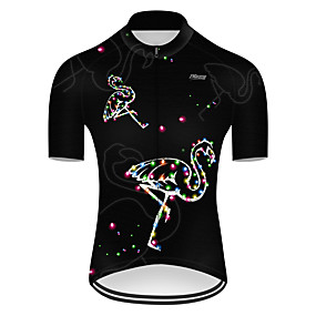 cheap Cycling & Motorcycling-21Grams Men's Short Sleeve Cycling Jersey Summer Nylon Polyester Black+White Flamingo Gradient Animal Bike Jersey Top Mountain Bike MTB Road Bike Cycling Ultraviolet Resistant Quick Dry Breathable