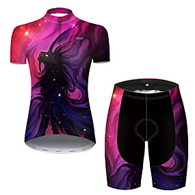 cheap Cycling & Motorcycling-21Grams Women's Short Sleeve Cycling Jersey with Shorts Summer Nylon Polyester Violet Galaxy Animal Bike Clothing Suit 3D Pad Ultraviolet Resistant Quick Dry Breathable Reflective Strips Sports Galaxy