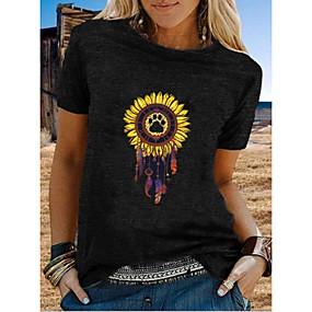 cheap Athleisure Wear-Women's T shirt Graphic Printing Round Neck Tops White Black Gray