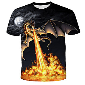 cheap Athleisure Wear-Men's T shirt Shirt Graphic Flame Print Short Sleeve Daily Tops Streetwear Exaggerated Round Neck Rainbow