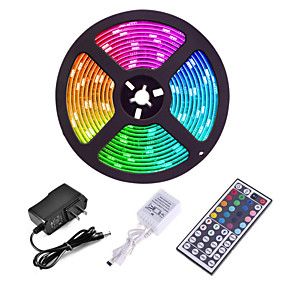 cheap Lights & Lighting-ZDM 5M 300 x 2835 8mm Lights LED Strip Lights RGB Tiktok Lights Flexible and IR 44Key Remote Control Linkable Self-adhesive Color-Changing