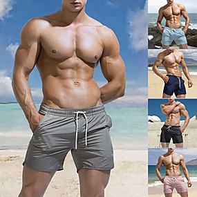 cheap Surfing, Swimming & Diving-Men's Swim Shorts Swim Trunks Bottoms Quick Dry Micro-elastic Drawstring - Swimming Beach Water Sports Solid Colored Summer