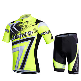 cheap Cycling & Motorcycling-21Grams Men's Short Sleeve Cycling Jersey with Shorts Summer Lycra Polyester Red Army Green Blue Geometic Plus Size Bike Shorts Pants / Trousers Jersey 3D Pad Quick Dry Breathable Back Pocket Sweat