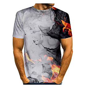 cheap Athleisure Wear-Men's T shirt Shirt Graphic Flame Print Short Sleeve Daily Tops Basic Round Neck White