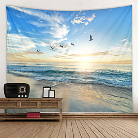 cheap Wall Tapestries-Beach Seagull Digital Printed Tapestry Decor Wall Art Tablecloths Bedspread Picnic Blanket Beach Throw Tapestries Colorful Bedroom Hall Dorm Living Room Hanging