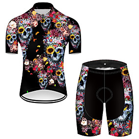 cheap Cycling & Motorcycling-21Grams Men's Short Sleeve Cycling Jersey with Shorts Summer Nylon Polyester Black / Red Sugar Skull Novelty Skull Bike Clothing Suit 3D Pad Ultraviolet Resistant Quick Dry Breathable Reflective