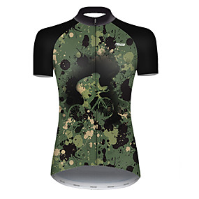 cheap Cycling & Motorcycling-21Grams Women's Short Sleeve Cycling Jersey Summer Nylon Polyester Camouflage Patchwork Camo / Camouflage Funny Bike Jersey Top Mountain Bike MTB Road Bike Cycling Ultraviolet Resistant Quick Dry