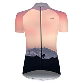 cheap Cycling & Motorcycling-21Grams Women's Short Sleeve Cycling Jersey Summer Nylon Polyester Pink Gradient 3D Bike Jersey Top Mountain Bike MTB Road Bike Cycling Ultraviolet Resistant Quick Dry Breathable Sports Clothing
