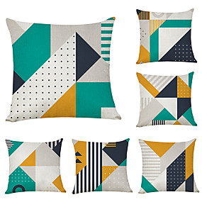 cheap Slipcovers-6 pcs Linen Pillow Cover, Geometric Geometic Casual Modern Square Traditional Classic