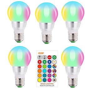 billige LED smartpærer-5stk e27 e14 rgb led pære 5w dimbar 16 farger skiftende magiske pære ac 220v 110v rgbw hvit ir fjernlys