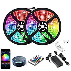 cheap WiFi Control-10m Flexible LED Strip Lights RGB Tiktok Lights Smart Lights 300 LEDs SMD5050 1 12V 6A Adapter 1 24Keys Remote Controller 1 To 2 Cable Connector 1 set RGB Tiktok Lights+White Waterproof APP