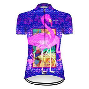 cheap Cycling & Motorcycling-21Grams Women's Short Sleeve Cycling Jersey Summer Nylon Polyester Red+Blue Stripes Flamingo Animal Bike Jersey Top Mountain Bike MTB Road Bike Cycling Ultraviolet Resistant Quick Dry Breathable