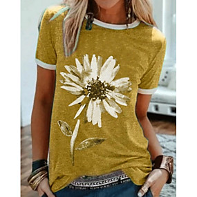 cheap Women-Women's T shirt Graphic Round Neck Tops Cotton Black Blue Purple