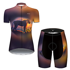 cheap Cycling & Motorcycling-21Grams Women's Short Sleeve Cycling Jersey with Shorts Summer Nylon Polyester Black / Yellow Gradient Tiger Animal Bike Clothing Suit 3D Pad Ultraviolet Resistant Quick Dry Breathable Reflective