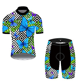 cheap Cycling & Motorcycling-21Grams Men's Short Sleeve Cycling Jersey with Shorts Summer Nylon Polyester Black / Blue Plaid Checkered Butterfly Bike Clothing Suit 3D Pad Ultraviolet Resistant Quick Dry Breathable Reflective