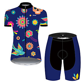 cheap Cycling & Motorcycling-21Grams Women's Short Sleeve Cycling Jersey with Shorts Summer Nylon Polyester Black / Blue Sugar Skull Skull Floral Botanical Bike Clothing Suit 3D Pad Ultraviolet Resistant Quick Dry Breathable