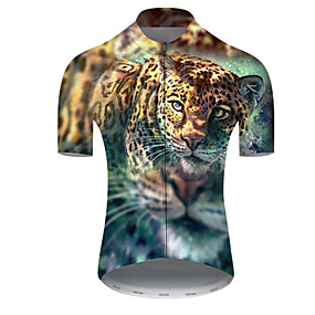 cheap Cycling & Motorcycling-21Grams Men's Short Sleeve Cycling Jersey Summer Nylon Polyester Blue+Yellow Tiger Animal Bike Jersey Top Mountain Bike MTB Road Bike Cycling Ultraviolet Resistant Quick Dry Breathable Sports